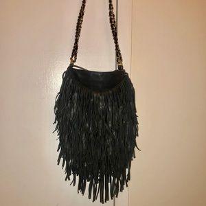 Black Ecote fringe bag with chain strap